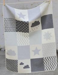 David Fussenegger Grey Clouds Patch Juwel Bassinet Blanket