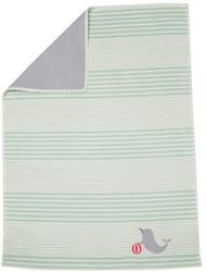 David Fussenegger Light Green Seal Lena Organic Embroidered Bassinet Blanket