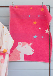 Pink Unicorn & Stars Lili Bassinet Blanket