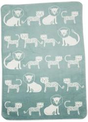 David Fussenegger Light Green Lion & Leopard Panda Bassinet Blanket