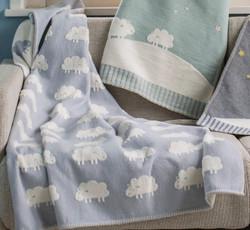 David Fussenegger  Light Blue Sheep All Over Finn Cot Blanket