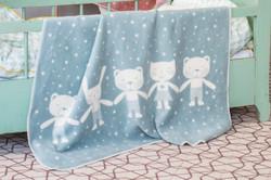 David Fussenegger Light Green Teddy & Friends Maja Cot Blanket