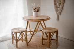 childrens rattan round table and chairs