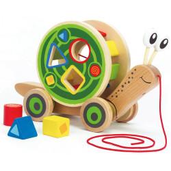 hape walk along shape sorter snail toy