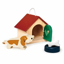 Tender Leaf Toys Wooden Pet Dogs Kennel Accessories for Dolls House