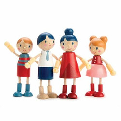 Tender Leaf Toys Wooden Doll Family with Flexible Arms and Legs