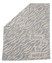 Light Grey Born T0 Be Wild Finn Bassinet Blanket