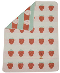 David Fussenegger Strawberries All Over Embroidered Bassinet