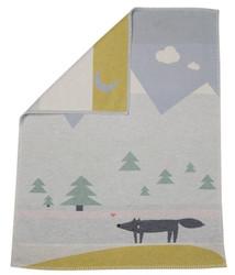 David Fussenegger Light Blue Wolf Embroidered Lili Bassinet Blanket