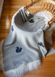 David Fussenegger Grey & Navy Squirrel Blanket