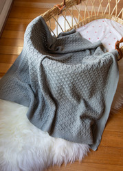 Emotion and Kids Grey Lace Knit Blanket