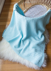 Emotion and Kids Pale Blue Lace Knit Blanket