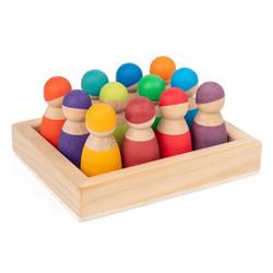 12 Mini Wooden Rainbow Doll Friendes