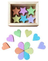 pastel stars wooden sorting shapes