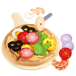 hape pretend play wooden pizza toy