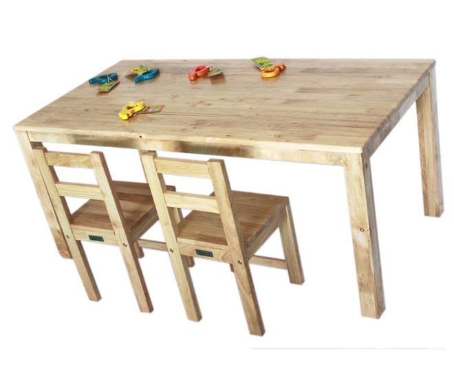 qtoys rectangle wooden table with NON-STACKABLE chairs (straight back)