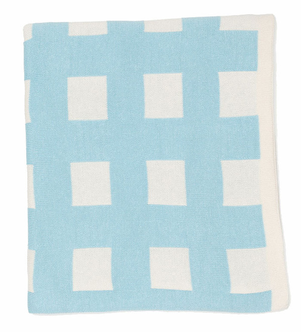 Blue Check Knitted Cotton Bassinet Blanket On Sale