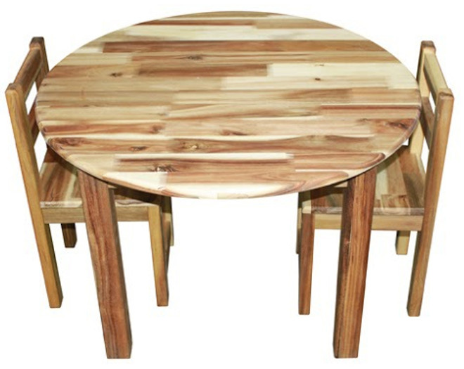 qtoys round acacia table and chairs