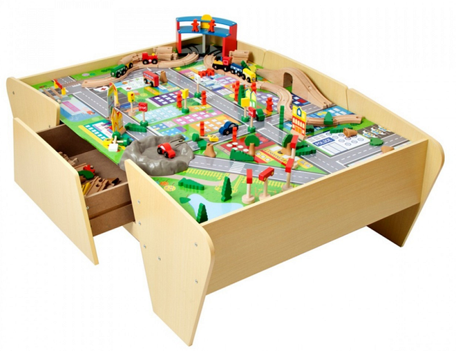 plum play wooden train table