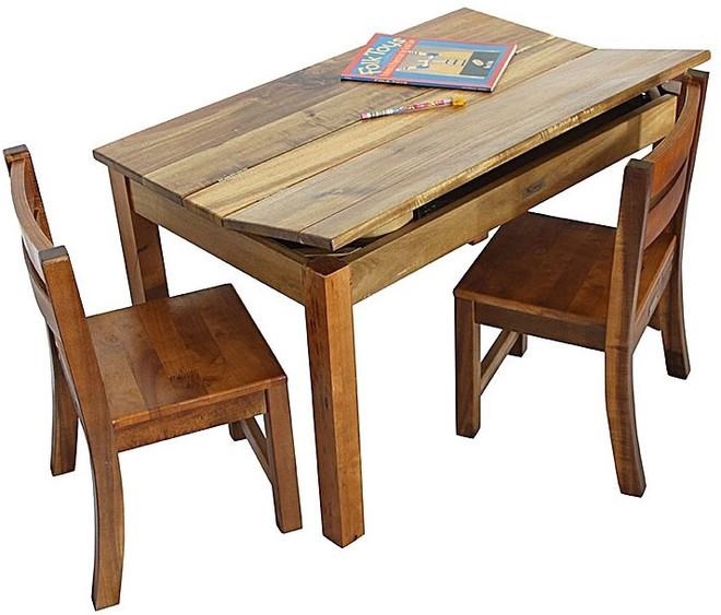children's timber play and works desk with 2 chairs