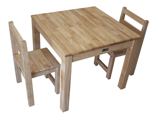 qtoys rubberwood standard square table and chairs