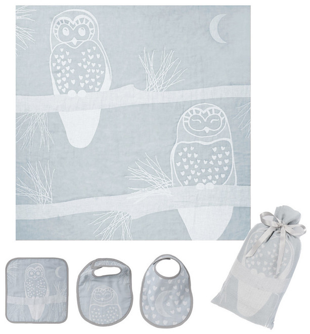 Breganwood Organics Muslin Swaddle Set - Prairie Collection - Grey Owl