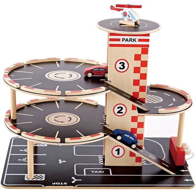 Hape Park N Go Wooden Toy Garage set