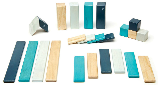 Tegu Magnetic Wooden Block - 24 Piece Blues Set