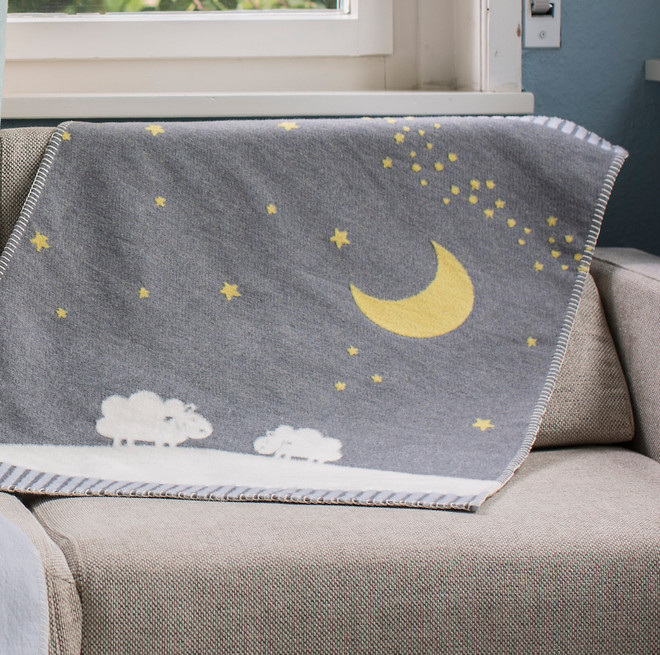David Fussenegger Grey Moon Over Sheep Finn Bassinet Blanket