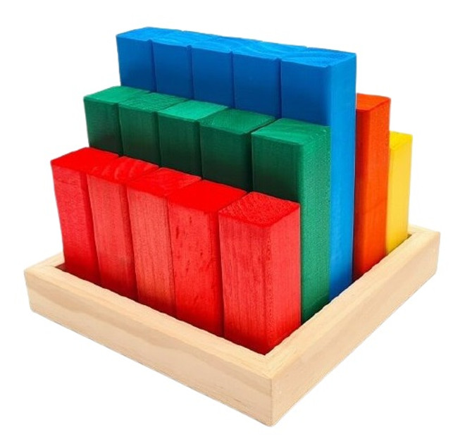 The Wooden Toy Co Rainbow Large Stepped Pyramid Block Set