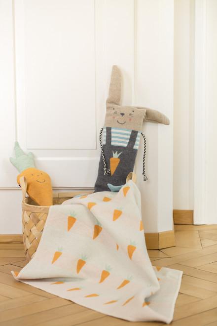 David Fussenegger Carrot Bassinet Blanket In Bunny Puppet