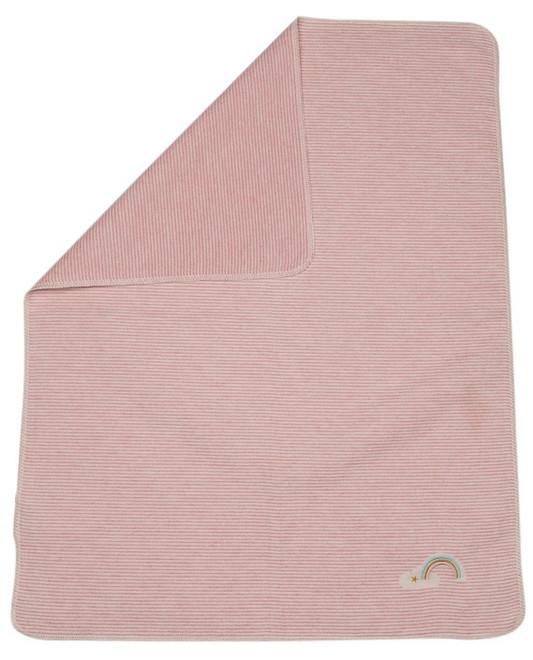 David Fussenegger Rose Stripes With Rainbow Embroidered Juwel Bassinet Blanket