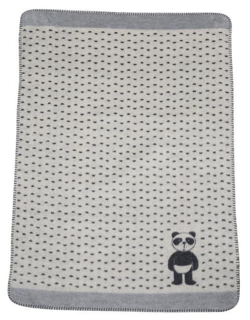 David Fussenegger Off White Panda Bear Bassinet Blanket
