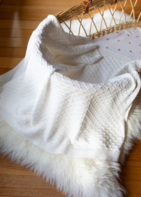 emotion and kids Cream Lace Knit Blanket