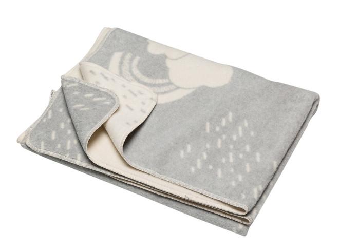 David Fussenegger Light Grey Clouds & Rainbow Maja Cot Blanket