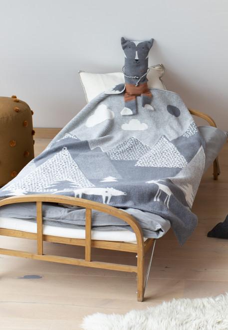 David Fussenegger Grey In The Woods Velvet Cot Blanket