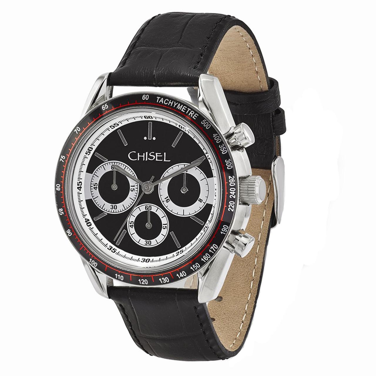 0acbdb54c Chisel Chronograph Tachymeter Quartz Black Leather Mens Watch TPW105 - The  Royal Gift Inc.