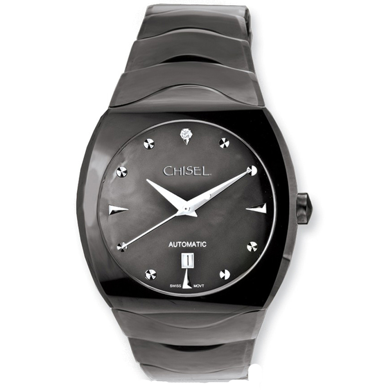 9117383cc8332b Chisel Black MOP CZ Dial Swiss Automatic with Date Tungsten Mens Watch TPW75