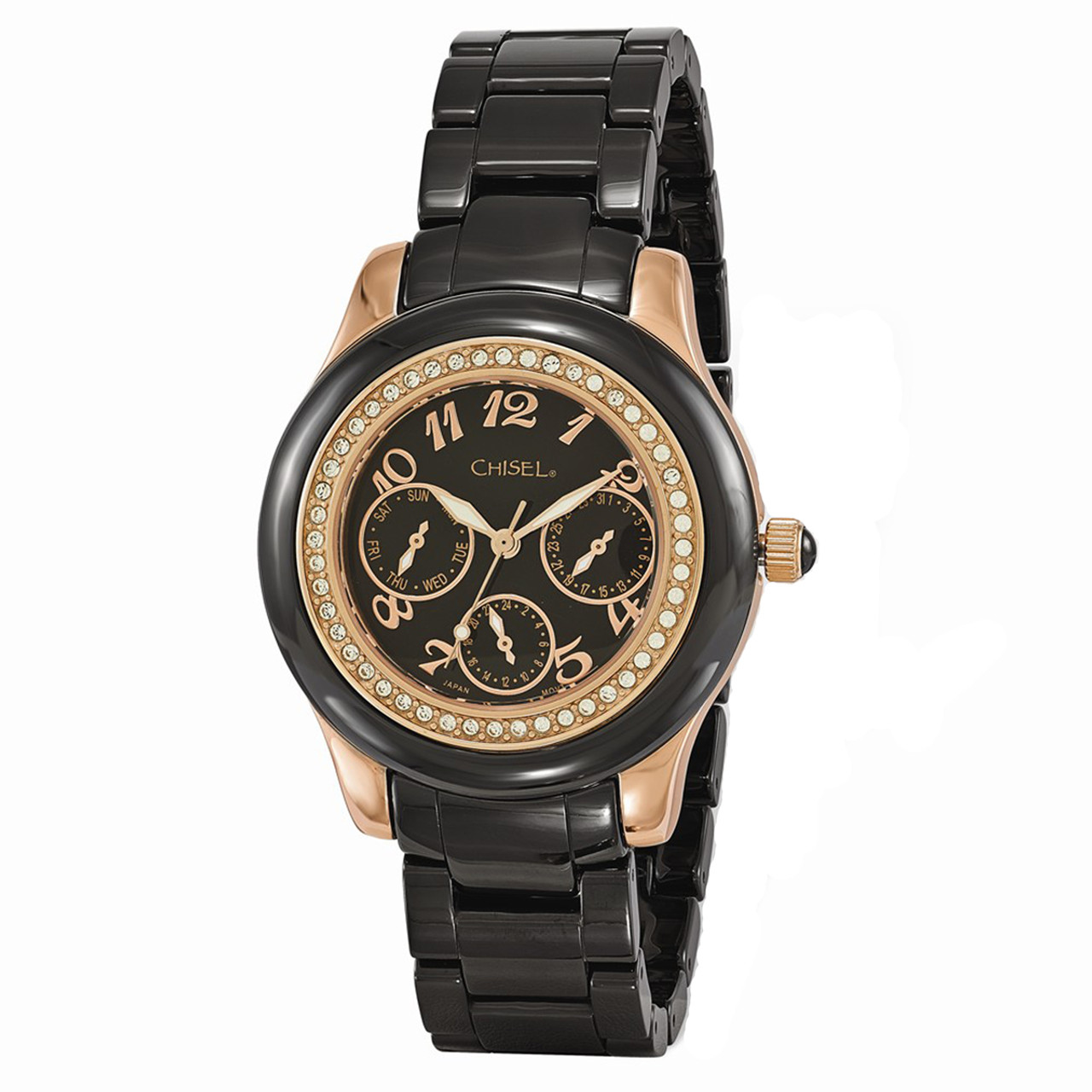 da001b16ecb2a Chisel Swarovski Rosetone Black Dial with Date Ceramic Womens Watch TPW115