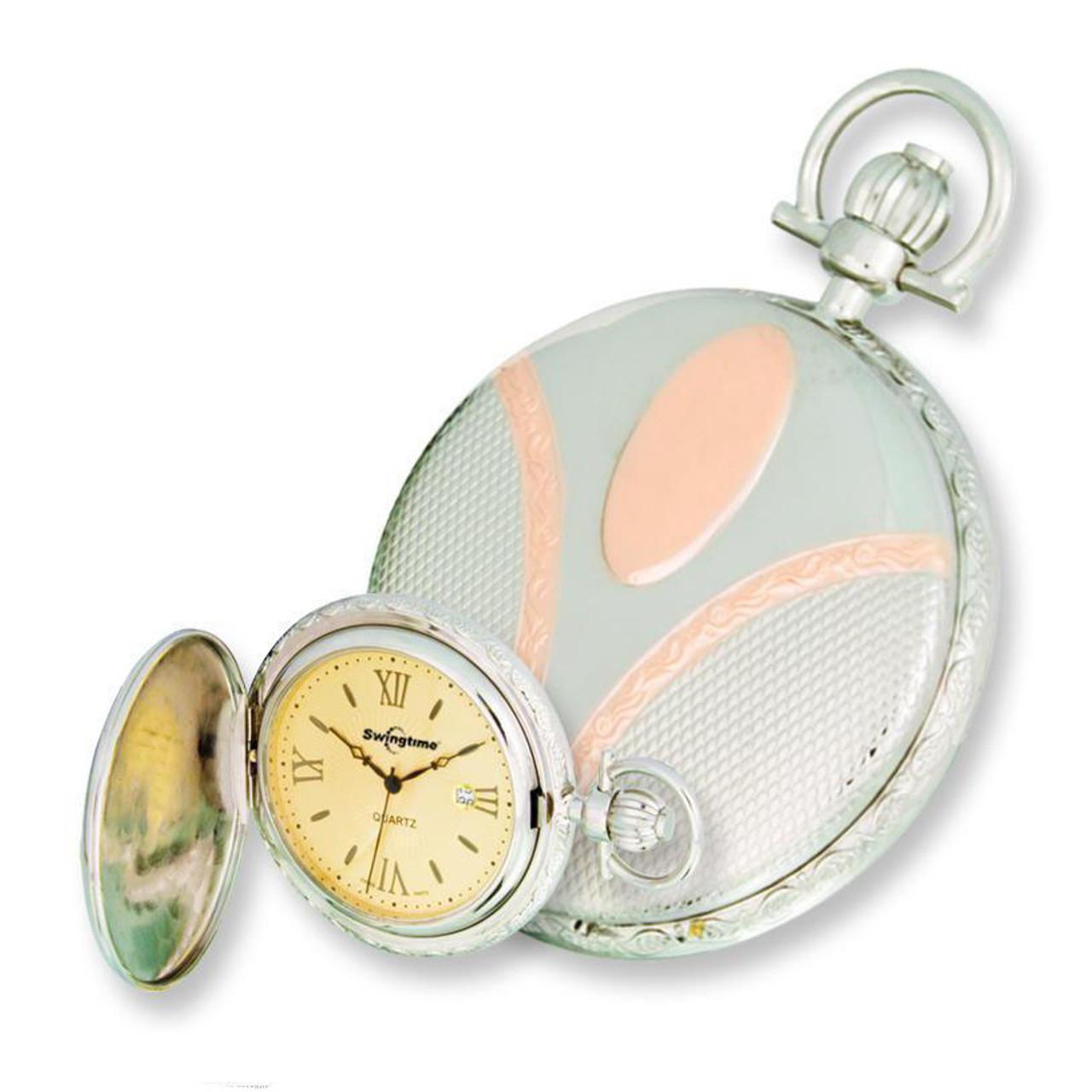fbc18ee00 Swingtime Engravable Two Tone Brass Swiss Quartz Date Pocket Watch - The  Royal Gift Inc.