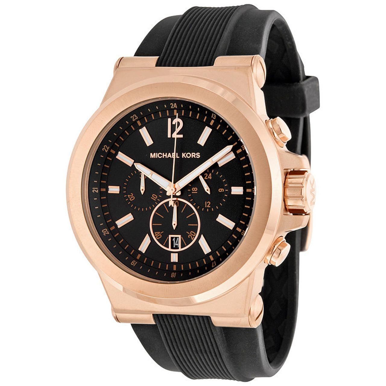 7646da672502 Michael Kors MK8184 Dylan Rosetone Chronograph Silicone Mens Watch ...
