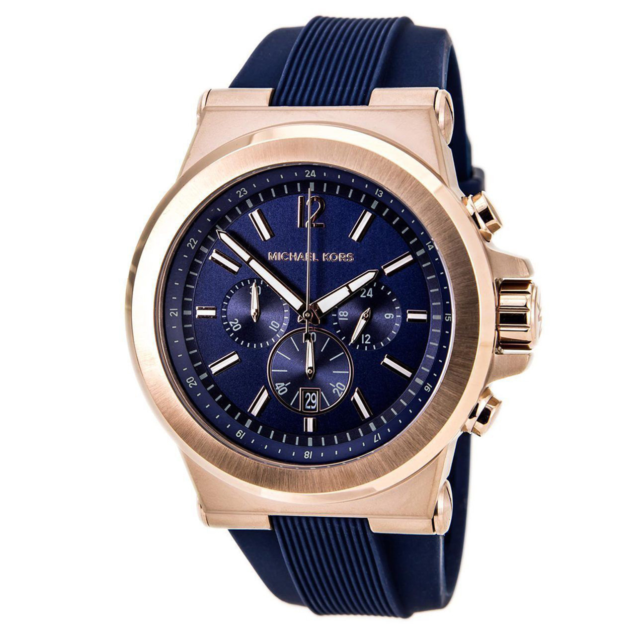 41c33ea7e921 Michael Kors MK8295 Dylan Rose-tone Chronograph Blue Silicone Mens Watch -  The Royal Gift Inc.