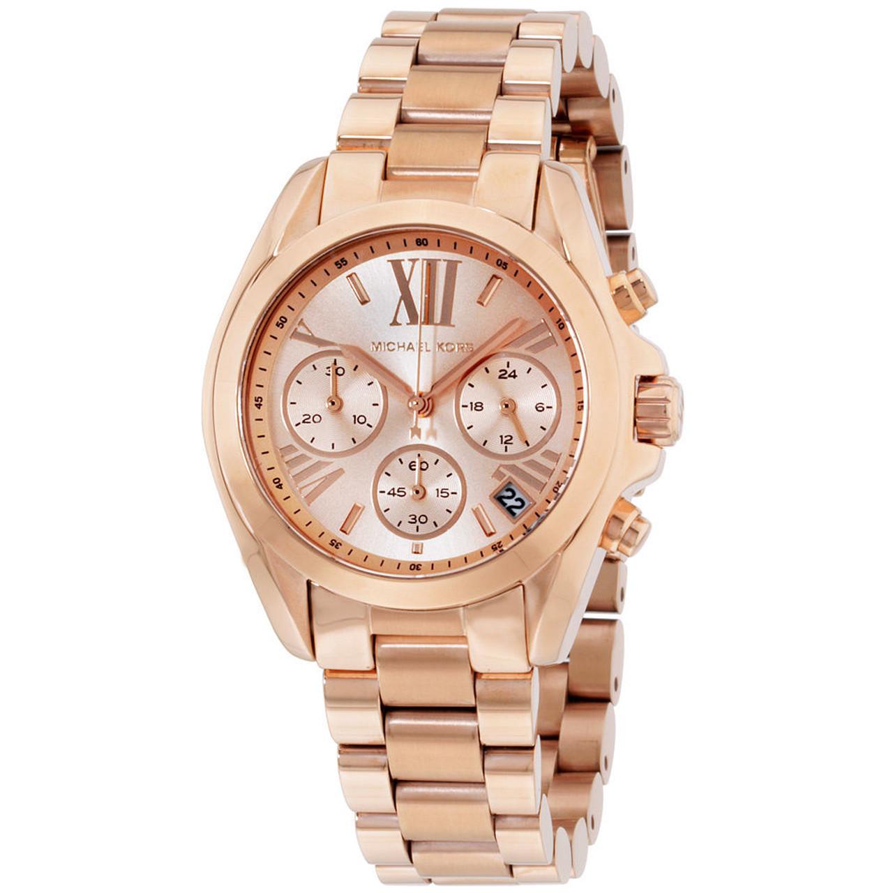4b2891a0bf22 Michael Kors MK5799 Bradshaw Chronograph Rosetone Stainless Steel Womens  Watch - The Royal Gift Inc.