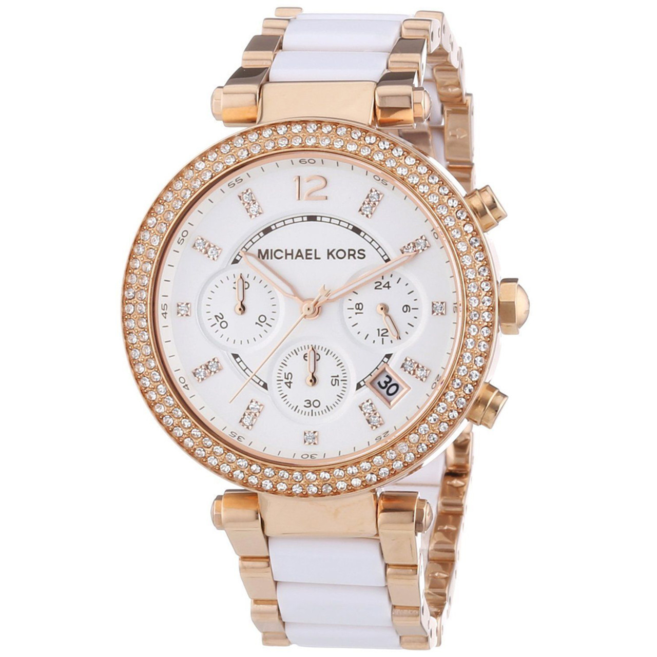 ce73e76c37d Michael Kors MK5774 Parker Chrono Crystal Rose-tone Stainless Steel Womens  Watch - The Royal Gift Inc.