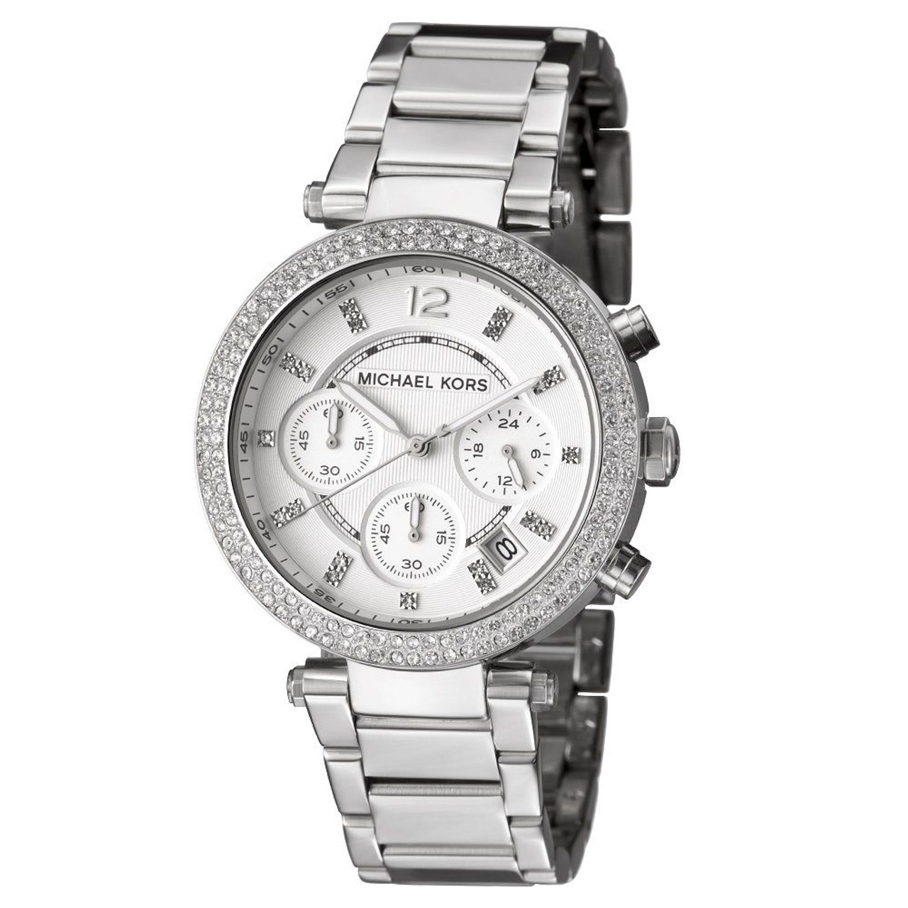 aecf268ccc27 Michael Kors MK5353 Parker Crystal Chronograph Stainless Steel Womens Watch