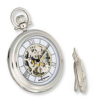Swingtime Chrome Brass with Stand Mechanical Open Face Pocket Watch