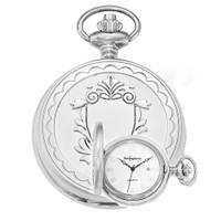 Swingtime Engravable Chrome Brass Swiss Quartz Date Mens Pocket Watch