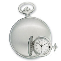 Swingtime Engravable 42mm Chrome Brass Swiss Quartz Mens Pocket Watch