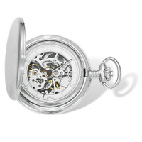 Swingtime Engravable Chrome Brass Wind Up Mechanical Mens Pocket Watch