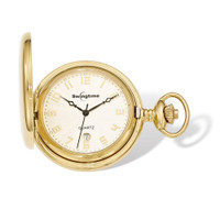 Swingtime Engravable Goldtone Stainless Steel Quartz Date Pocket Watch